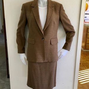 MICHAEL KORS Brown Red Herringbone Wool Skirt Suit